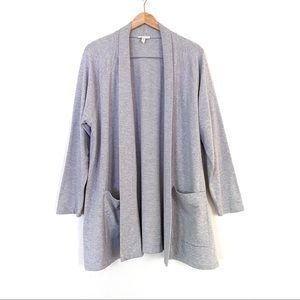 Eileen Fisher Gray Organic Cotton Open Cardigan 1X